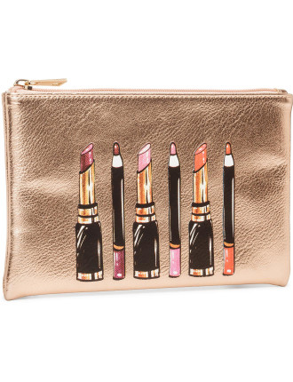 Lipstick Print Flat Beauty Bag
