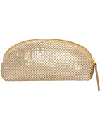 Flat Cosmetic Bag - Gold mesh $14.95