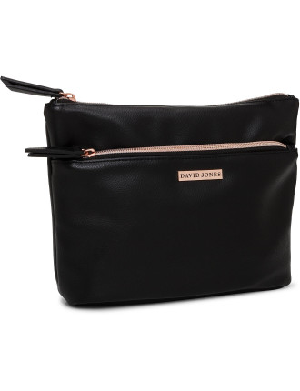 David Jones A-Line Cosmetic Bag Black Pebble PU