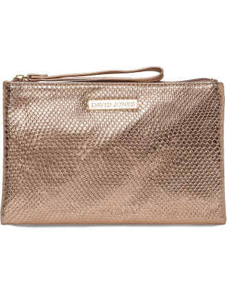 DAVID JONES REPTILE FLAT BEAUTY BAG WITH HANDLE