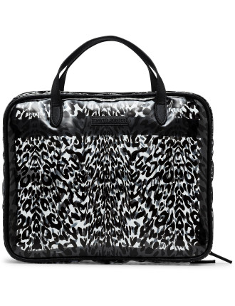 Clear leopard holdall cosmetic bag