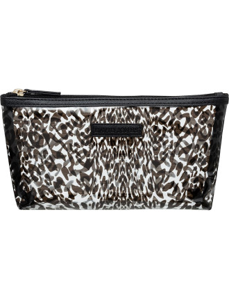 Clear leopard small cosmetic bag