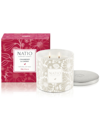 CRANBERRY & CHERRY FESTIVE SCENTED CANDLE