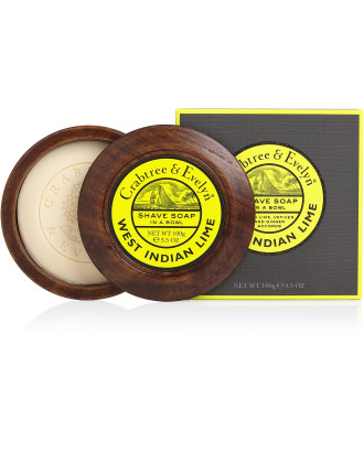 West Indian Lime Shave Soap In Wooden Bowl