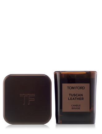 Tuscan Leather Candle And Cover Set