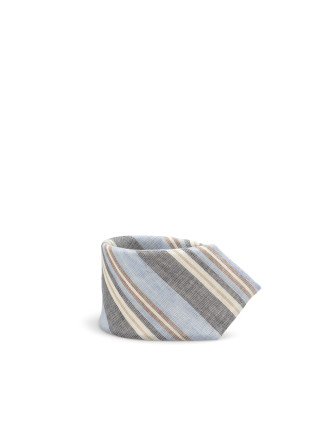 Slim Striped Linen Cotton Tie