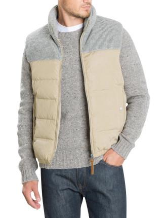 Knitted Yoke Puffer Vest