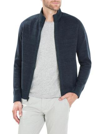 Technical Trim Linen Cotton Knit Jacket