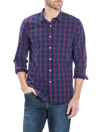 Tonal Indigo Plaid Shirt