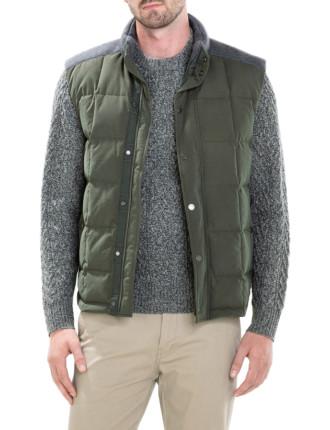 Knit Yoke Puffer Vest