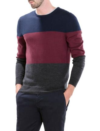 Merino Block Stripe Crew Pullover