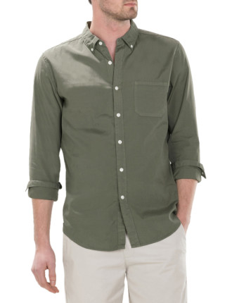 Garment Dyed Washed Poplin Shirt