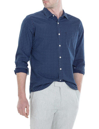 Cross Print Indigo Shirt