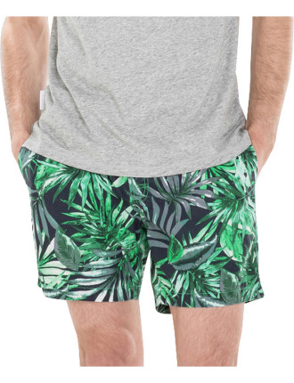 Cotton Tropical Palm Print Swim Short