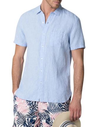 Crossdyed Linen Short Sleeve Shirt