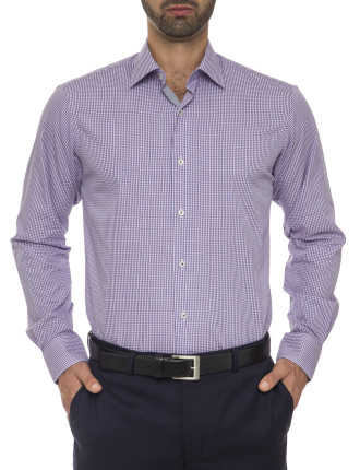 Bobby City Tailored Fit - Pure Cotton Easy Iron Check Shirt
