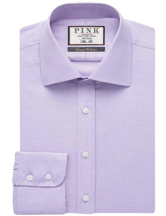 SLIM FIT CLIFTON HERRINGBONE BUTTON CUFF SHIRT