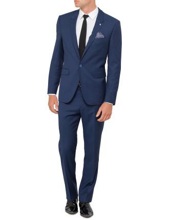 1b Sb Cv Fl Fr Wool/Elast Jaquard Peak Suit