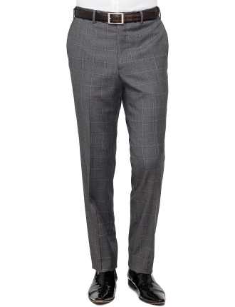 FL FR WOOL TEXT WINDOWPANE CHECK TROUSER