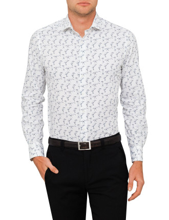 Bird Print Single Cuff Shirt