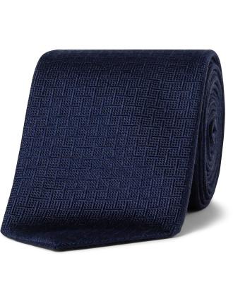 Silk Text Check Tie
