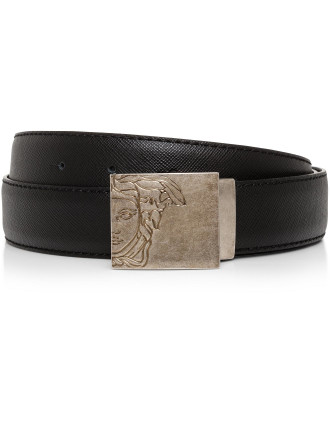 Leather Saffiano Logo Belt