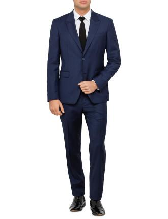 Wool Self Herringbone Plain Peak Suit