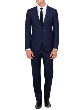 Wool Graph Check Peak Suit