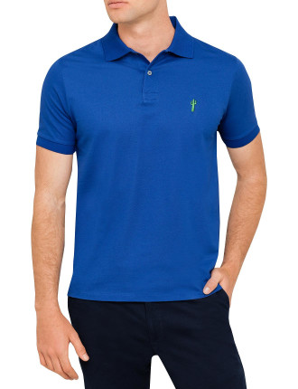 Cotton Pique Cactus Logo Plain Polo