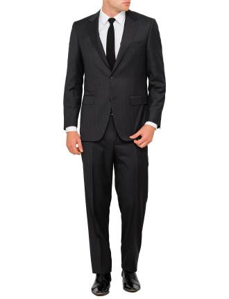 Flat Front Wool 130 Tonal  Stripe Suit