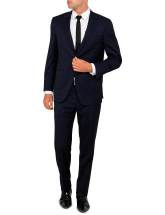 Flat Front  Wool 130  Sky Pinstripe Suit