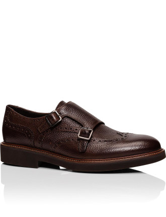 Text Leather Double Monk Casual Shoe