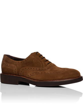Suede Leather Rubber Sole  Brogue Lace Shoe