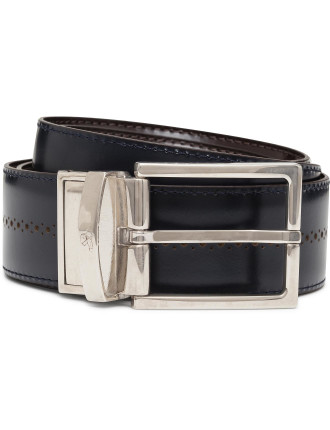 Leather Perforated Reversible Belt