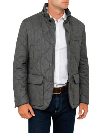 Wool Flannel Treated  Zip Field Jacket