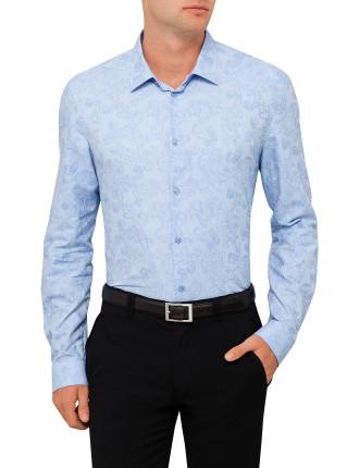 Cotton Jaquard Paisley Leaf Shirt