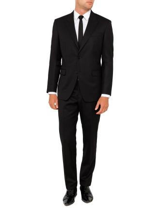Wool Natural Stripe Plain Peak Suit