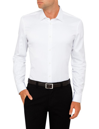 Micro Chevron Plain Single Cuff Shirt