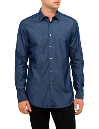 Cotton Dark Chambray Plain Shirt