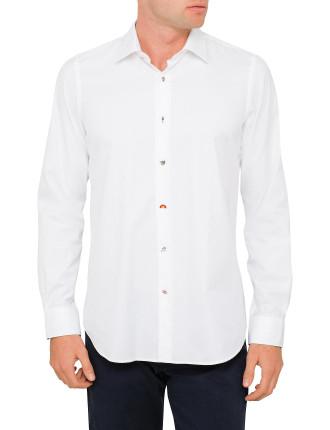 Cotton Twill Plain Charm Button Shirt