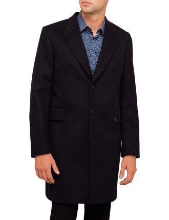Wool/Cashmere Plain Peak Coat