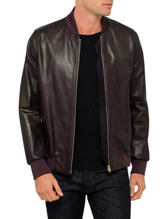 Leather Zip Bomber Jacket