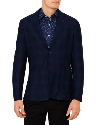 2B SB SV COTTON JERSEY PRINT CHECK JACKET