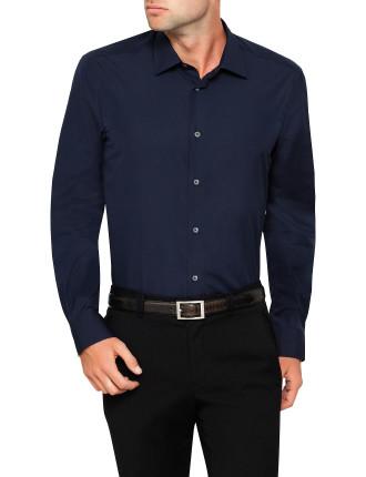 Cotton Poplin Plain Single Cuff Shirt