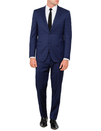 Wool Tonal Window Pane Peak Suit