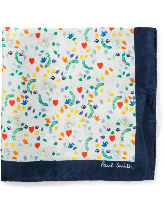 Vine Floral Silk Pocket Square