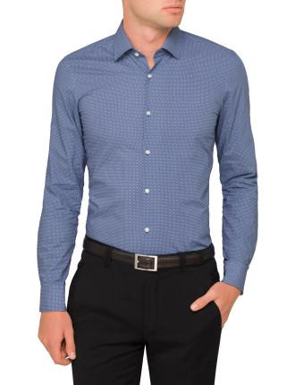 Diamond Spot Print Single Cuff Shirt