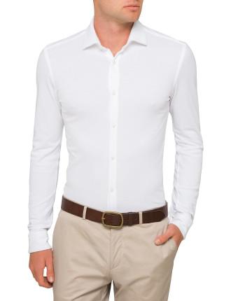 Pique Plain Single Cuff Shirt