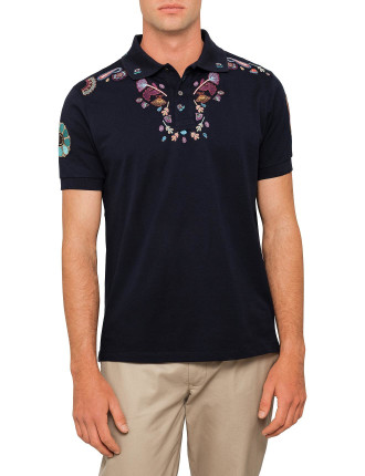 Paisley Embroidered Polo