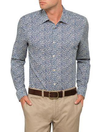 Flower Leaf Print Single Cuff Shirt